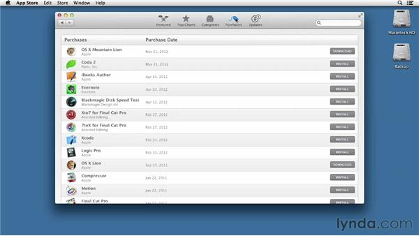 Learn your way around the Mac App Store: Mac OS X Mountain Lion Essential Training