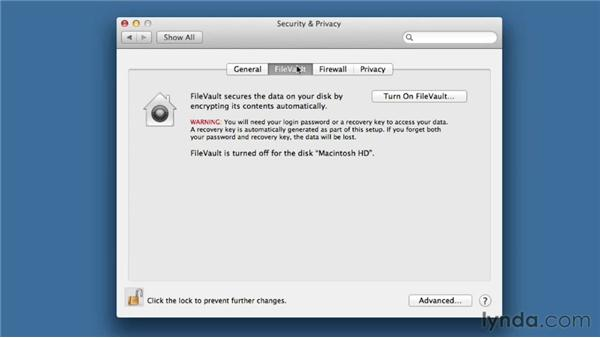 Optimizing Security & Privacy settings: Mac OS X Mountain Lion Essential Training