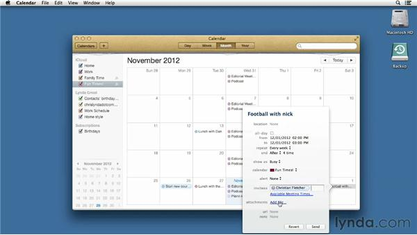 Scheduling time with Calendar: Mac OS X Mountain Lion Essential Training