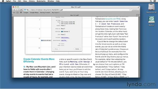 Viewing and saving PDFs: Mac OS X Mountain Lion Essential Training