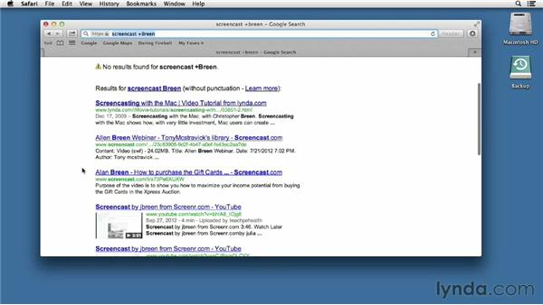 Using Safari to search the web: Mac OS X Mountain Lion Essential Training