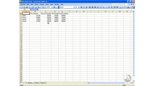 Width and height: Excel 2003 Essential Training