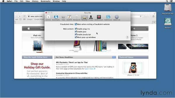 Working with preferences in Safari: Mac OS X Mountain Lion Essential Training
