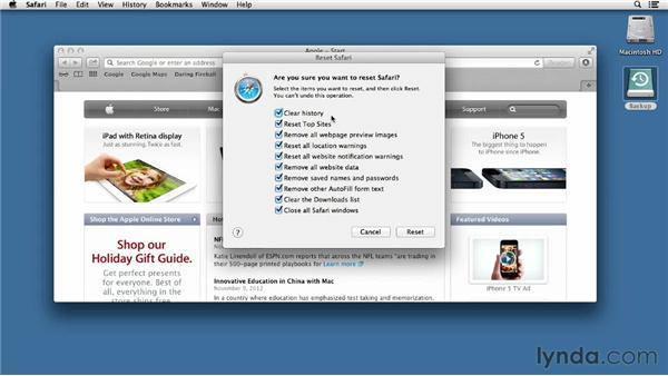 Managing your Internet footprint: Mac OS X Mountain Lion Essential Training