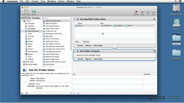 Writing a simple Automator workflow: Mac OS X Mountain Lion Essential Training