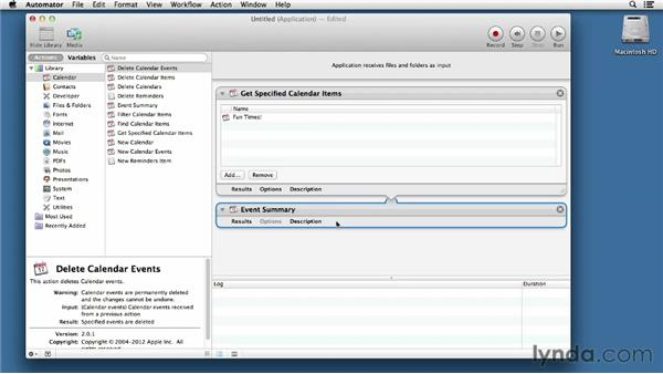 Creating an Automator application: Mac OS X Mountain Lion Essential Training