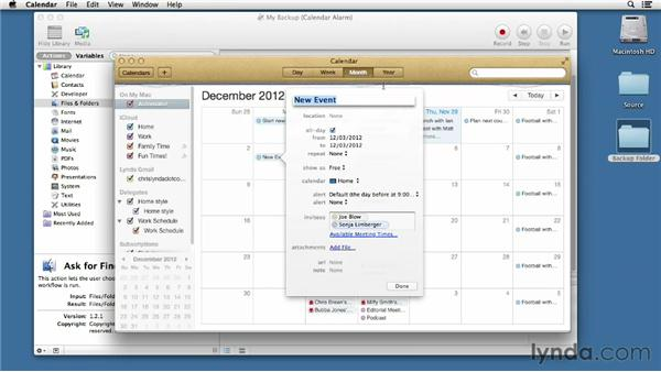 Setting up an Automator calendar workflow: Mac OS X Mountain Lion Essential Training