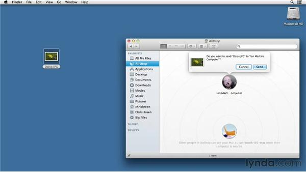Sharing files with AirDrop: Mac OS X Mountain Lion Essential Training