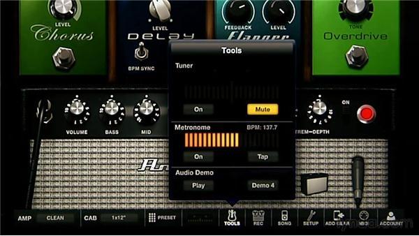 Setting up the metronome: iPad Music Production: AmpliTube