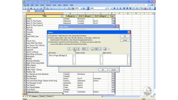 Headers and footers: Excel 2003 Essential Training