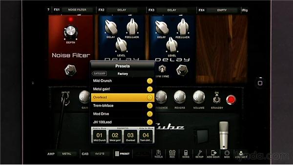 Saving favorites and presets: iPad Music Production: AmpliTube