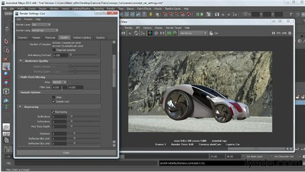 Adjusting the render quality settings: Photorealistic Lighting with Maya and Nuke