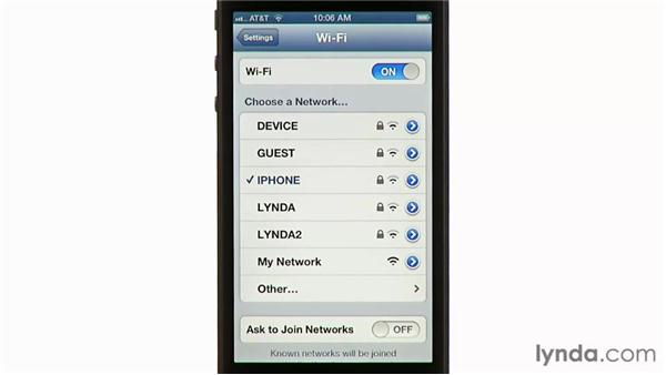 Connecting to wi-fi networks: iPhone and iPod touch iOS 6 Essential Training