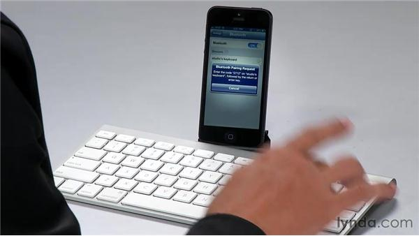 Syncing a Bluetooth keyboard: iPhone and iPod touch iOS 6 Essential Training