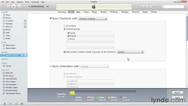 Syncing contacts and calendars from a PC: iPhone and iPod touch iOS 6 Essential Training