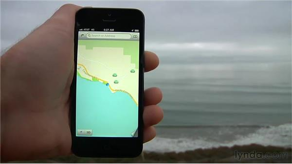 Getting your location with Maps: iPhone and iPod touch iOS 6 Essential Training