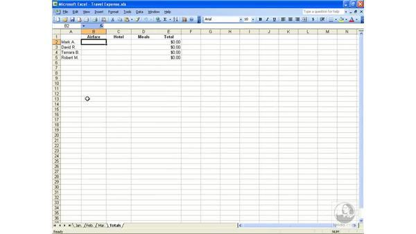 3D formulas: Excel 2003 Essential Training