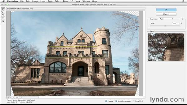 Removing lens distortion with the Adaptive Wide Angle filter: Digital Painting: Architecture