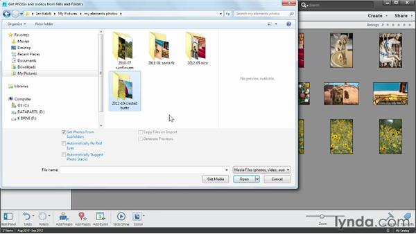 Importing photos from your computer: Photoshop Elements 11 Essentials: 01 Importing and Organizing Photos