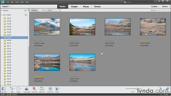 Hiding and showing photos: Photoshop Elements 11 Essentials: 01 Importing and Organizing Photos
