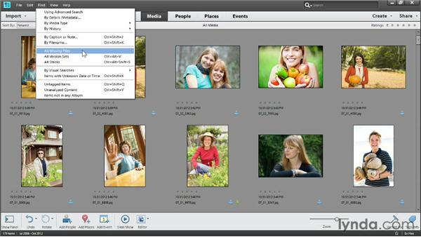 Using the Find menu: Photoshop Elements 11 Essentials: 01 Importing and Organizing Photos