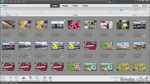 Finding photos in the Timeline: Photoshop Elements 11 Essentials: 01 Importing and Organizing Photos