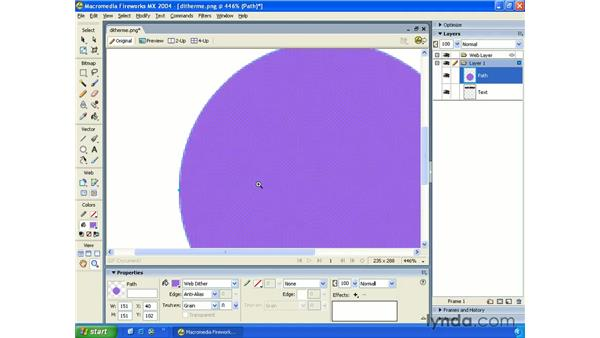 web dither fill: Fireworks MX 2004 Essential Training