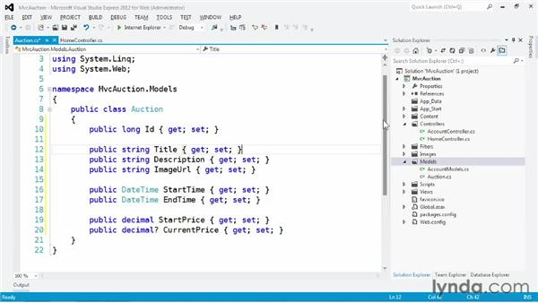 Creating the model: ASP.NET MVC 4 Essential Training