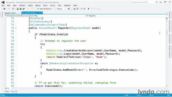 Registering new users: ASP.NET MVC 4 Essential Training