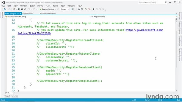 Authenticating registered users: ASP.NET MVC 4 Essential Training