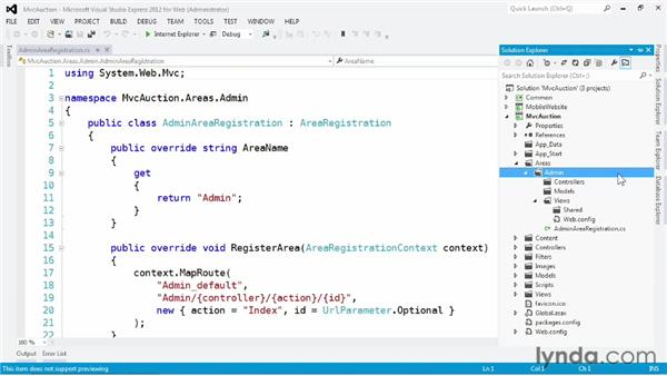Simplifying a complex application with areas: ASP.NET MVC 4 Essential Training