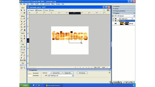 masking with text: Fireworks MX 2004 Essential Training