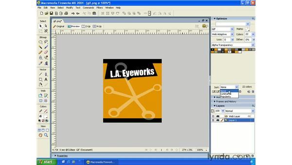 GIF - web safe palette: Fireworks MX 2004 Essential Training