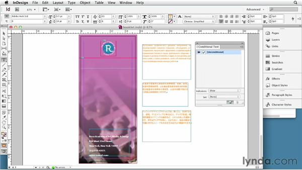 Working with multiple languages in one file using conditional text: Multilingual Publishing Strategies with InDesign