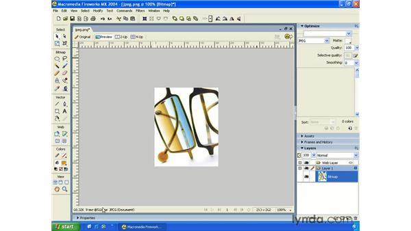 JPEG - optimization: Fireworks MX 2004 Essential Training