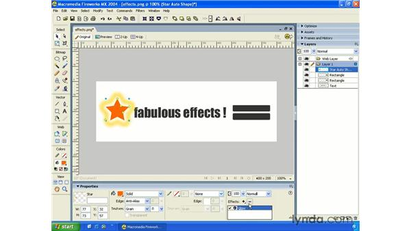 using effects: Fireworks MX 2004 Essential Training