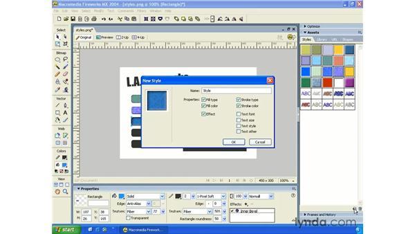 using styles: Fireworks MX 2004 Essential Training