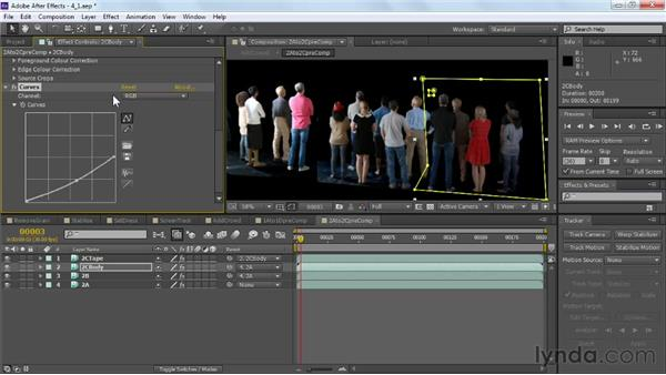 Balancing the saturation and brightness of elements: VFX Techniques: Crowd Replication with After Effects