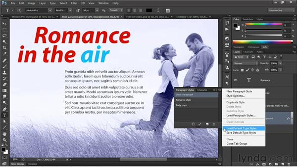 Creating global default type styles: Photoshop CS6 New Features