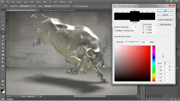 Enhanced 3D lighting with 32-bit bit color: Photoshop CS6 New Features