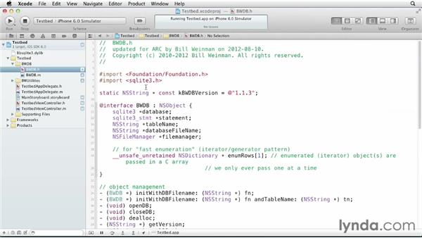 Testing the BWDB interface in the sandbox: iOS SDK and SQLite: Building Data-Driven Apps (2013)