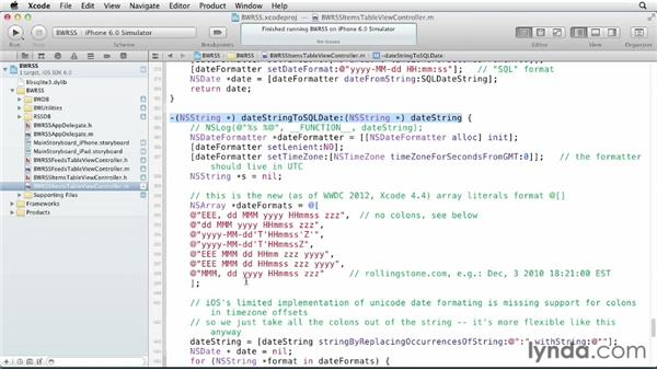 Parsing the feed with NSXMLParser: iOS SDK and SQLite: Building Data-Driven Apps (2013)
