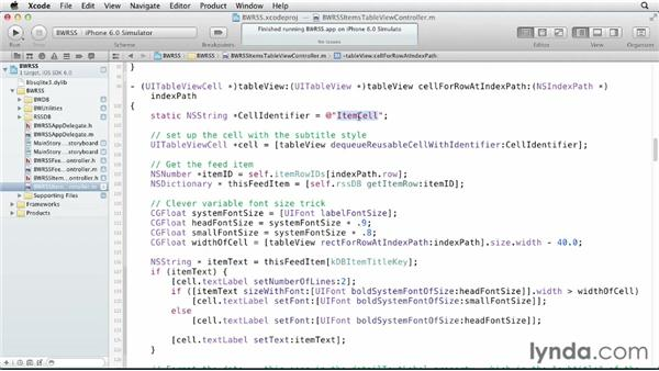 Updating the item view with the feed items: iOS SDK and SQLite: Building Data-Driven Apps (2013)