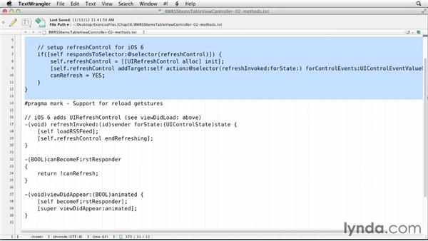 Implementing the pull-to-refresh gesture for iOS 6: iOS SDK and SQLite: Building Data-Driven Apps (2013)