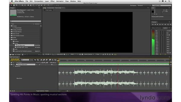 Spotting hit points in music: After Effects Apprentice 16: Creating a Medical Opening Title