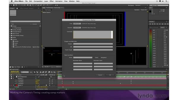 Marking the camera's timing: After Effects Apprentice 16: Creating a Medical Opening Title