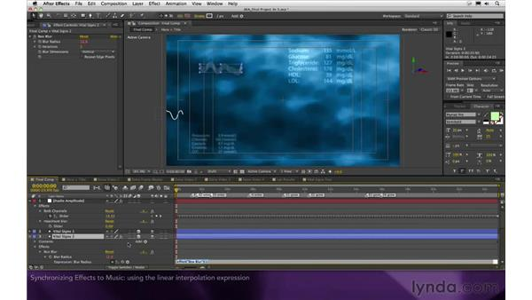 Synchronizing effects to music: After Effects Apprentice 16: Creating a Medical Opening Title