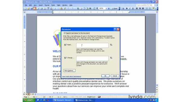 information rights manager: Word 2003 Essential Training