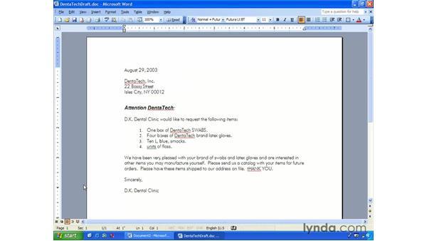 editing text: Word 2003 Essential Training