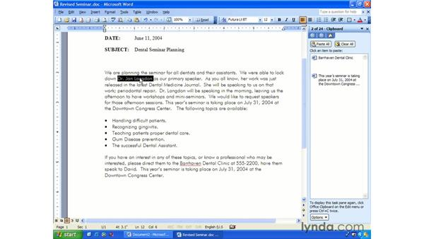 the Office clipboard: Word 2003 Essential Training